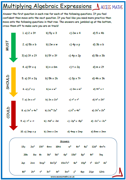 Expanding And Factoring Algebraic Expressions Worksheets ...