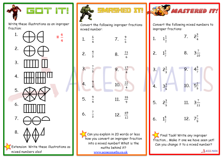 Mixed Numbers and Improper Fractions Access Maths – Improper Fraction to Mixed Number Worksheet