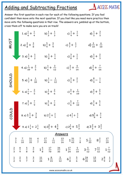 math worksheet : adding fractions worksheet  access maths : Fraction Worksheets Ks3