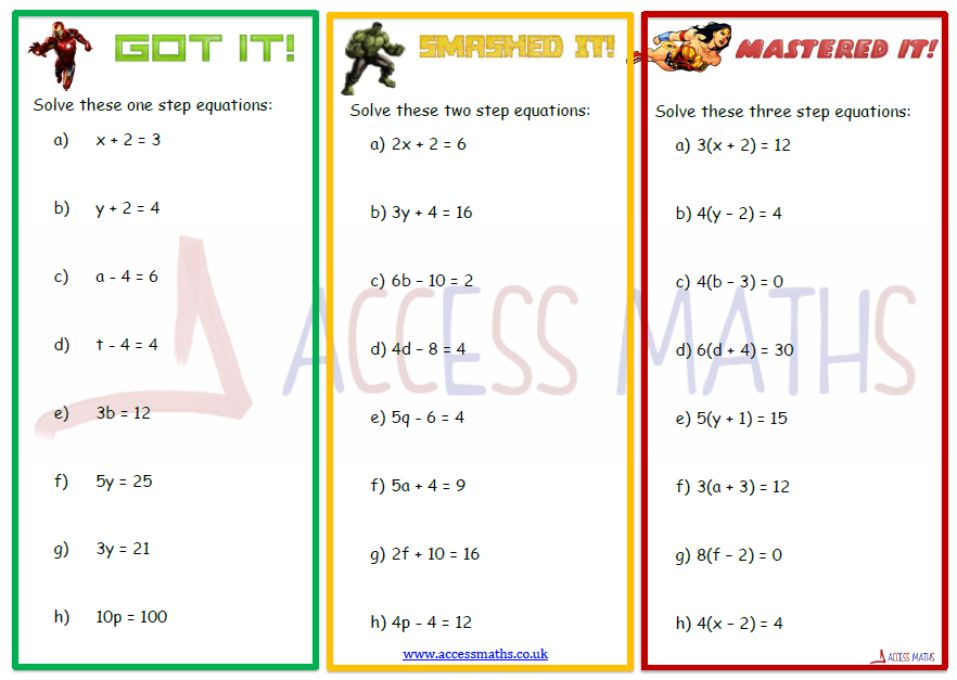 Solving Equations Worksheets Access Maths – Two Step Equations Worksheet with Answers